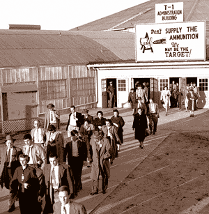Administrative employees leaving TC-1 at the end of the day (circa 1953)